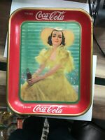 VINTAGE 1938 COCA COLA SERVING TRAY LADY IN THE YELLOW DRESS, American Art Works