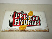 1950s Vintage Pfister Hybrid Seed Corn Metal Tin Sign Old Farm Feed Cow Pig Hen