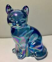 FENTON Art Glass Blue Iridescent Cat Figurine Figure