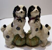 antique black white pottery staffordshire England spotted spaniel dogs bookends