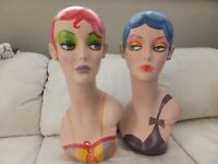 Pair of Hand Painted Mannequin Heads