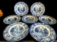 Liberty Blue Independence Hall Lot of 7 Dinner Plate Staffordshire England 9 3/4