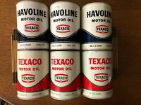 Texaco Motor Oil Cans--Havoline Texaco Oil Cans -Quarts--Opened--Lot of Six