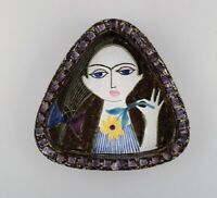 Mari Simmulson for Upsala-Ekeby. Dish in glazed stoneware with portrait of woman
