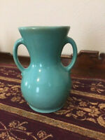 Vintage 7 inch dreamy greenish blue two handle floral vase Brush McCoy pottery