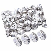 BoNaYuanDa 100pcs 8mm Silver Plated Crystal Rondelle Spacer Beads for jeweler... $11.99