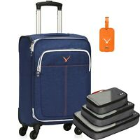 21 inch Softside Luggage Upright Spinner Wheels Carry on with 3pcs Packing Cubes