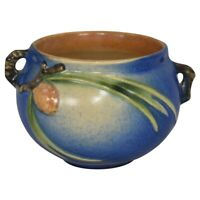 Roseville Pottery Pine Cone Blue Handled Jardiniere 632-3