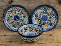 Lot of 1 Bowl & 2 Salad Plates Unikat Boleslawiec Polish Pottery Hand Painted