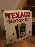Porcelain Texaco Gas Pump Sign Station Service Oil Can Jar Antique Standard Gulf