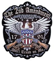 Large Patriotic The 2nd Amendment, Don't Tread On Me American Eagle Biker Patch