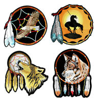 Set Of Native American Wolf Eagle Indian Dream Catcher Embroidered Patches