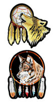 Set Of Native American Howling Wolf Dream Catcher Wolves Embroidered Patches