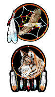 Set Of Native American Eagle Wolf Dream Catcher Embroidered Patches
