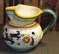 Hand Painted Multi Colored Hand Made Nicely Designed Pottery Pitcher