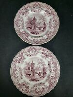 2 Rare Ridgways Pomerania Transferware Red Antique Salad/dessert Plates