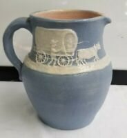 Vintage Pisgah Forest Pottery 1950 Pitcher w/ Cameo Covered Wagon sgnd Stephen