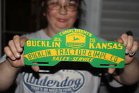John Deere Bucklin Tractor Co. Gas Oil Porcelain Metal License Plate Topper Sign