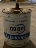Vintage Farm CO-OP Advertising Motor Oil Lubricant 5 Gallon Metal Can COOP