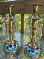 "Pr LONGWY French Pottery & Brass 10"" Candlesticks Candle Holders W/ Prisms"