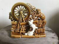 Vintage McCoy Dog and Cat by Spinning Wheel Planter