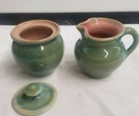 Pisgah Forest Pottery 1950 Creamer & Sugar Green w/ Blue-Pink Inside