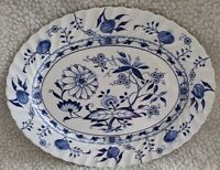 OLD BLUE LILY (Blue Onion) STAFFORDSHIRE ENGLAND IRONSTONE Oval Serving Platter