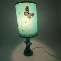 Vintage Blue Van Briggle Pottery Parrot Lamp With Real Butterfly Shade