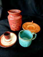 VTG NORTH CAROLINA POTTERY COLLECTION: COLE POTTERY 4 PCS BEAUTIFUL SANFORD NC