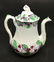 Antique J. CLEMENTSON Staffordshire Ironstone Teapot Coffee WOODBINE Pattern 10