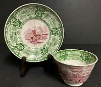 Antique 2 Color Pink & Green Transferware Staffordshire Handleless Cup & Saucer