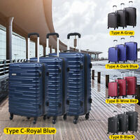 3 Piece Luggage Set Carry On Trolley Suitcase Cover Travel Spinner Wheels ABSPC