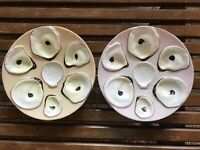 Pair Of Oyster Plates Porcelain China 6 Wells W Shell Sauce Center