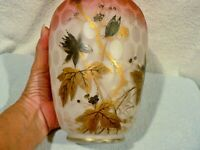 *RARE*  HARRACH BOHEMIAN GLASS PEACHBLOW SATIN GLASS TRAPPED AIR VASE - SIGNED