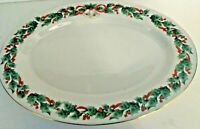 SALE ROYAL MAJESTIC # 8401 Gold Trim Oval Christmas Platter 14 1 4quot; x 10 1 4quot;