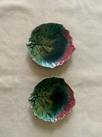 Pair of Antique Majolica Geranium Leaf Butter Pats - 1870s