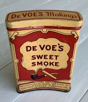 Vintage DE VOE'S SWEET SMOKE Concave Curved Tobacco Pocket Tin Outstanding