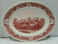 Vtg Ironstone Platter Red Transferware Royal Swan Kenilworth Castle England 12