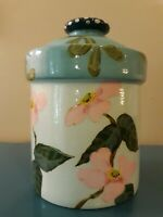 SIGNED DROLL DESIGNS Flowers HAND PAINTED CANISTER 7 1/2
