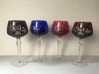 4 BOHEMIAN CUT-TO-CLEAR CRYSTAL WATER WINE GLASS GOBLETS ~ YGF