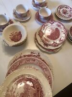 Complete Service For 4 Vintage Mismatched China  pink Red White Transferware
