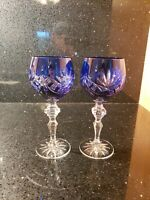 Cobalt Blue Cut To Clear Pair of Crystal Wine Glasses ?(? Bohemian ?)? Style