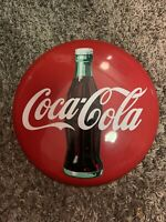 Vintage 1990 Coca-Cola Company Classic Red Metal Coke Button Sign 12