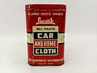 Vintage Las Stik Wax Treated Car amp; Home w Cloth Cleaning Kit Tin Advertising