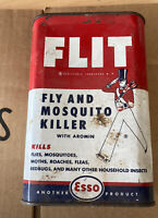 Vintage Esso Flit FLY AND MOSQUITO Metal Can Oil Gas Petroleum Collectibles Used