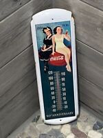 Vintage Antique Coca Cola Tin Thermometer Advertisement