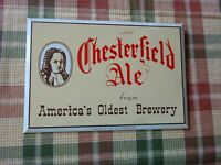 Chesterfield ale POTTSVILLE PA Tin Over Cardboard Advertising Display Sign