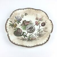 ANTIQUE AESTHETIC PERIOD PAVIA BROWN TRANSFERWARE SOUP PLATE BOWL B amp; S.H.