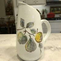 Vintage Royal Goedewaagen Gouda Pottery PITCHER Hand Painted Pears 6 Cups