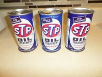 VINTAGE STP OIL TREATMENT CANS LOT OF THREE FULL AUTOMOTIVE